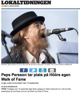 Lokaltidningen Höörs Försköningsförening Peps Persson Walk of Fame