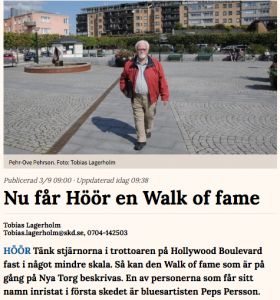 Walk of Fame i Höör invigs 15 september 2017 klockan 21